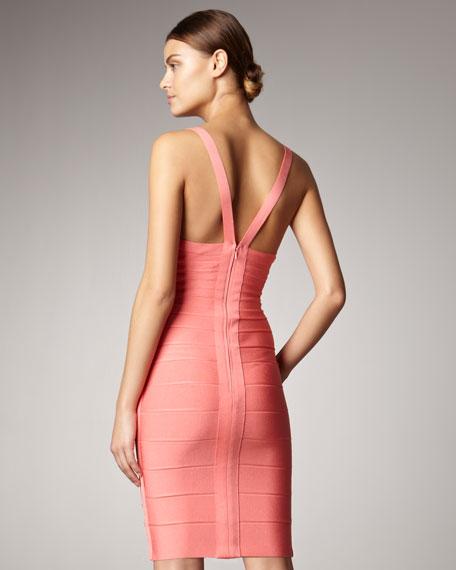 V Neck Pink Dress