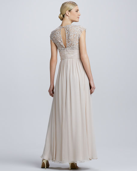 Lace & Chiffon Cap-Sleeve Gown