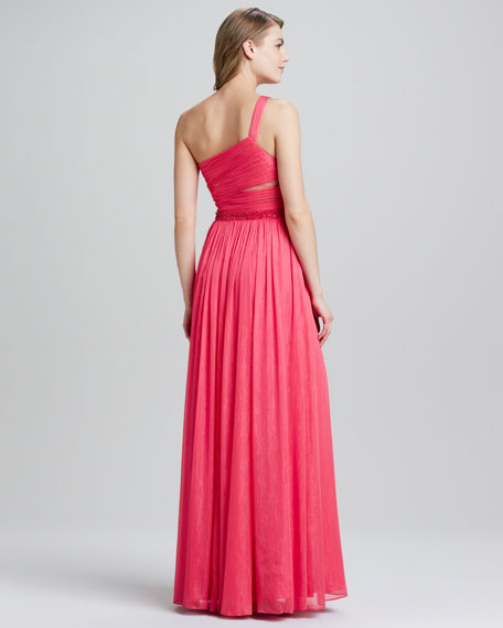 One-Shoulder Beaded-Waist Gown