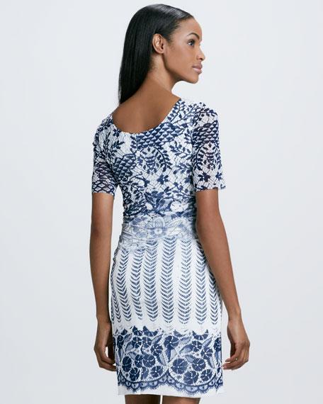 Lace-Print Mesh Dress
