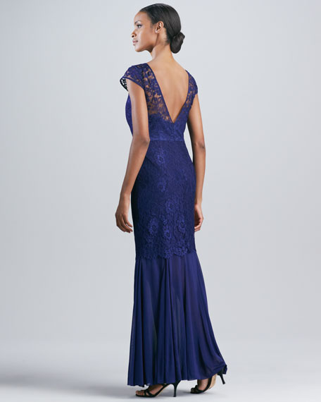 Cap-Sleeve Gown with Lace Overlay