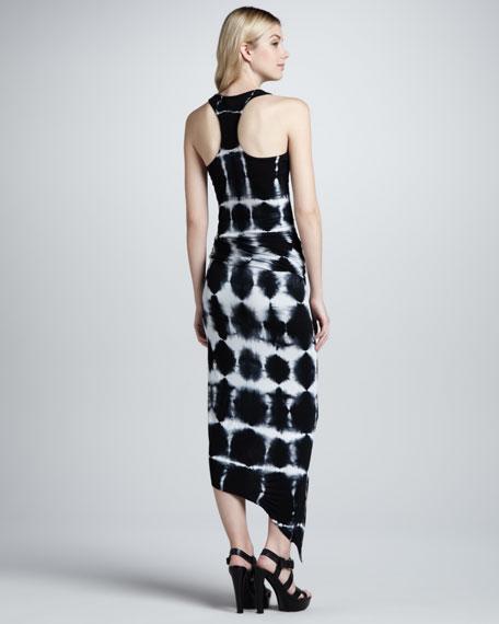 Sassy Crosshatch-Print Maxi Dress, Black