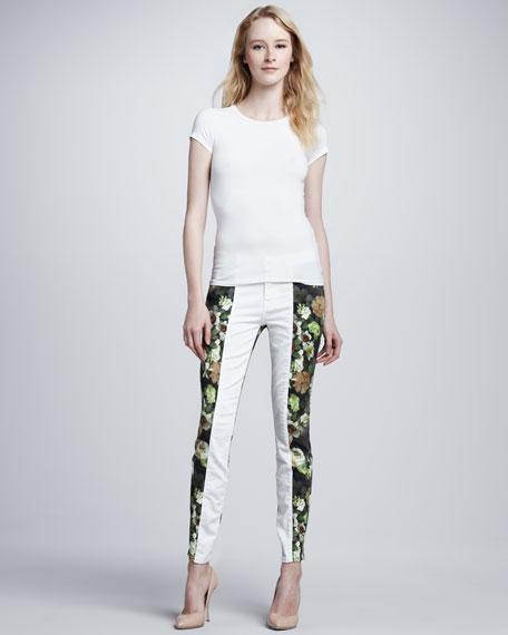 Skinny Pieced White Jeans