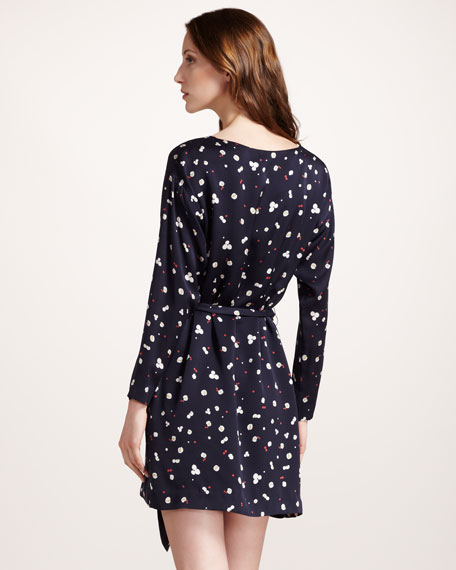 Chestnut-Print Silk Dress
