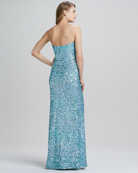 Strapless Sequined High-Slit Gown