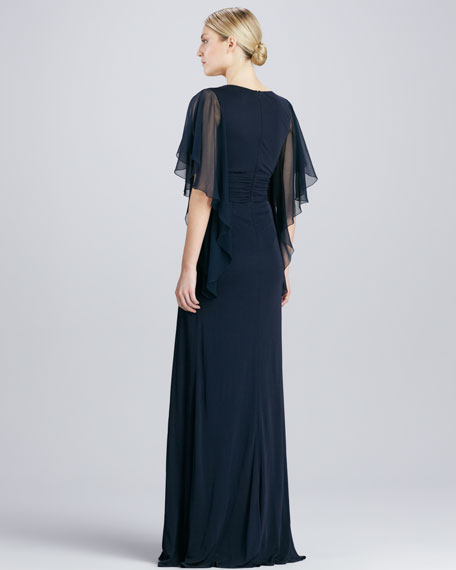 Flutter-Sleeve Beaded-Waist Gown