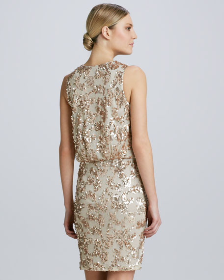 Draped & Sequined Cocktail Dress