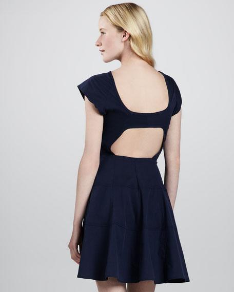 Zorba Cutout-Back Cotton Dress, Indigo