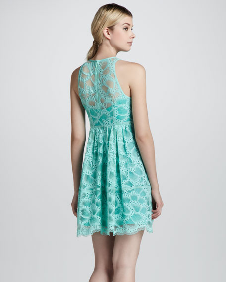 Secret Escapes Lace-Overlay Dress, Mint