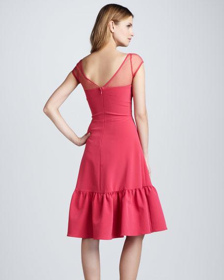 Sheer-Top Ruffle-Hem Dress