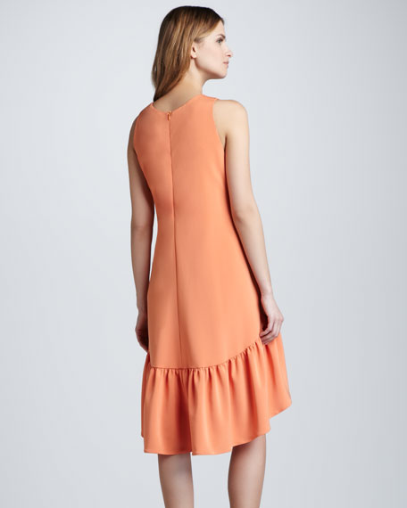 Hi-Low Ruffle-Hem Dress, Tangerine