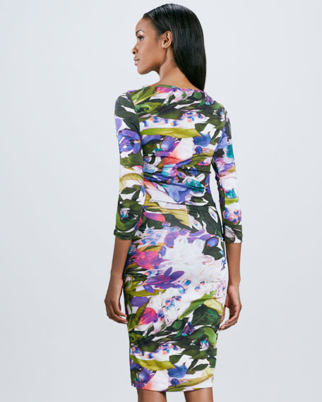 Three-Quarter Sleeve Floral-Print Dress