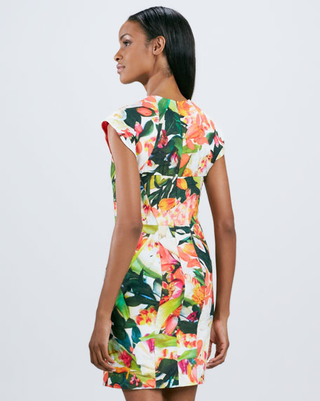 Paneled Floral Cap-Sleeve Dress
