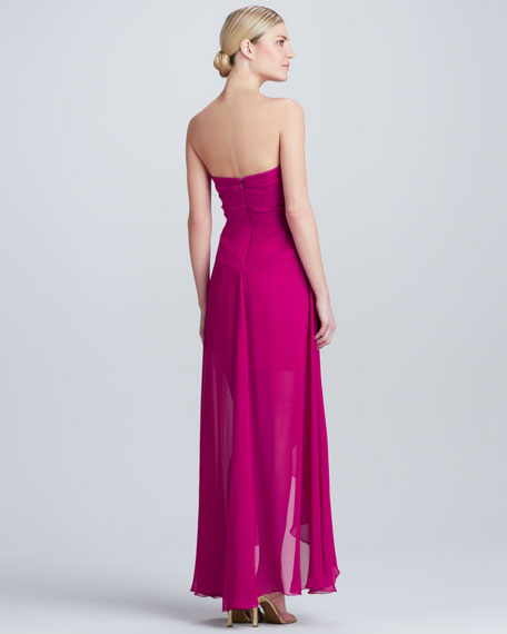 Strapless Gown with Cascade
