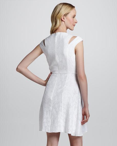 Cutout Cap-Sleeve Sweetheart-Neck Dress