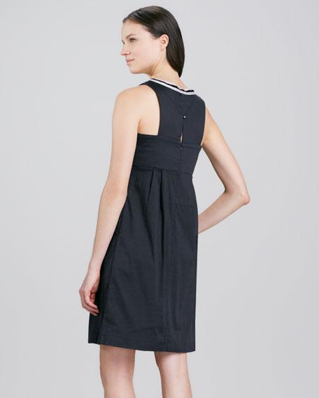 Gwen Halter Embroidered Neckline Dress