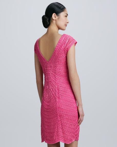 Cap-Sleeve Cocktail Dress with Soutache Overlay
