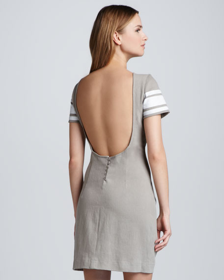 Open and Button-Back Sheath Dress