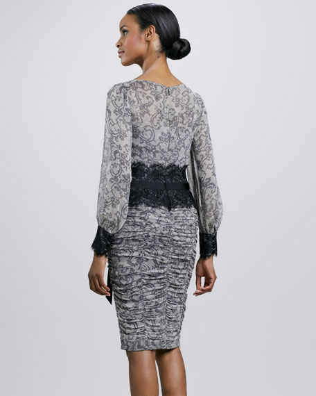 Scroll-Print Lace-Waist Ruched Cocktail Dress