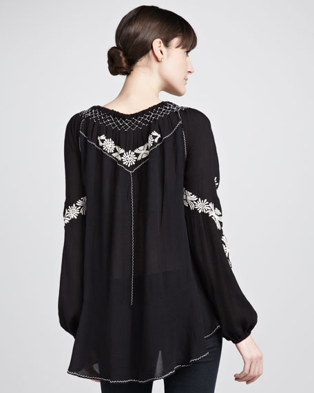 Contrast-Embroidery Top