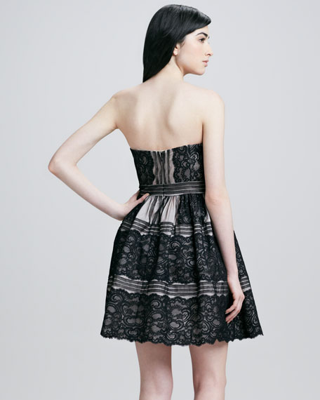 Strapless Lace Pattern Cocktail Dress