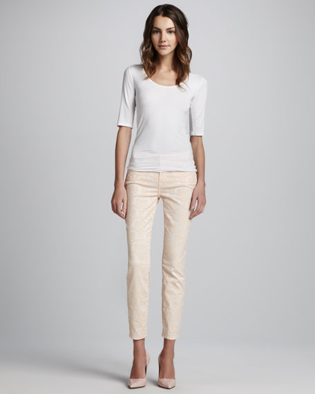 Skinny Peach-Textured Cropped Jeans