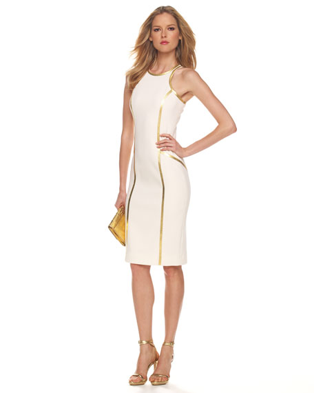 Boucle Crepe Racerback Sheath Dress, White