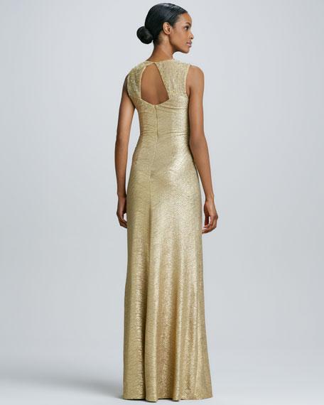 Sleeveless V-Neck Gown