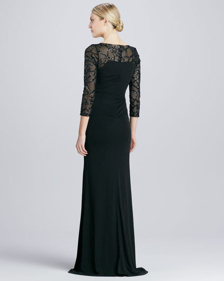 Sequined-Sleeve Jersey Gown