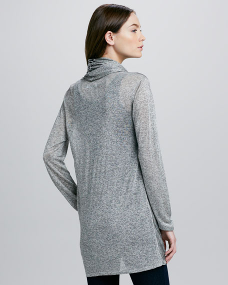 Long-Sleeve Draping Wrap-Around Top