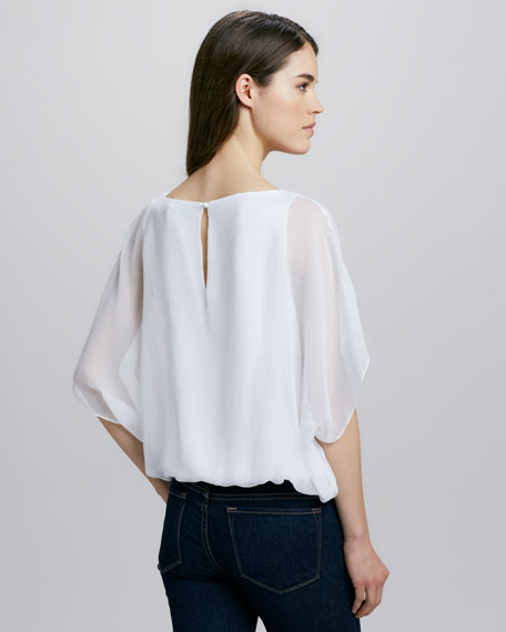 Strayla Batwing Top, White