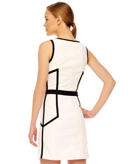 Front-Zip Contrast Dress
