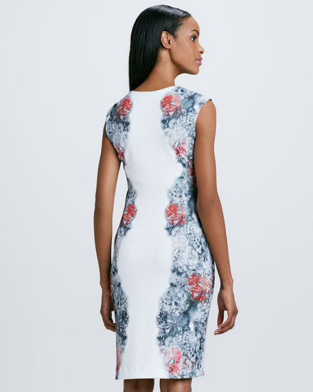 Floral-Print Paneled Cocktail Dress