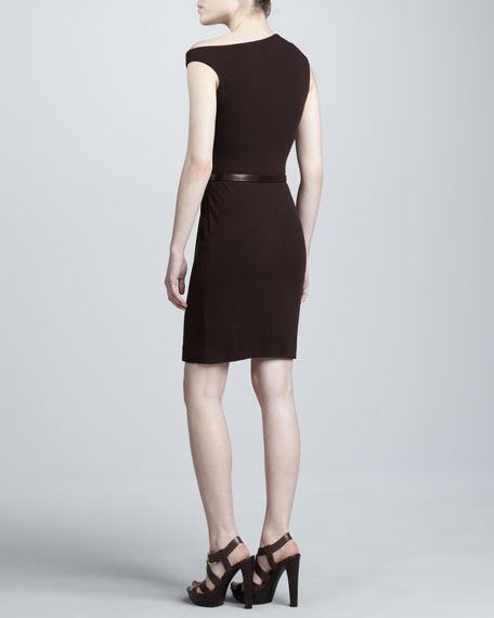 Super-Stretch Crepe Dress, Burgundy