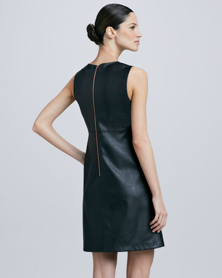 Faux-Leather Shift Dress
