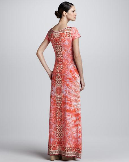 Short-Sleeve Lace-Print Maxi Dress, Orange
