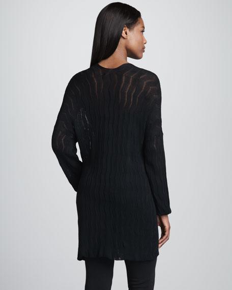 Chevron Knit Long Cardigan, Black
