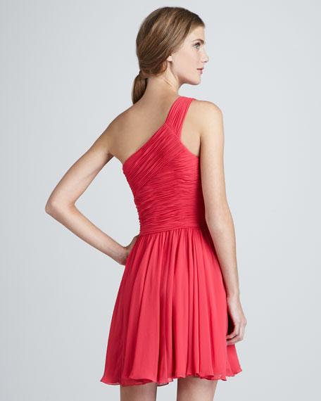 Ruched-Top One-Shoulder Dress