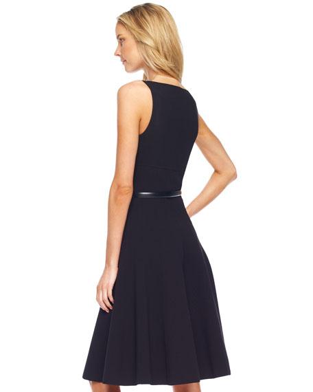 Square-Neck Belted A-Line Dress, Black