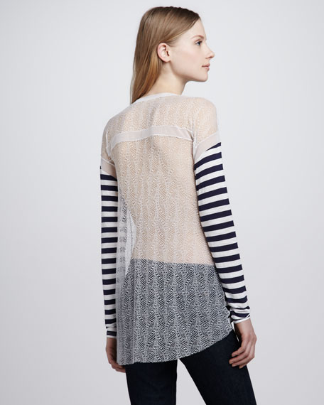 Striped Lace-Back Top