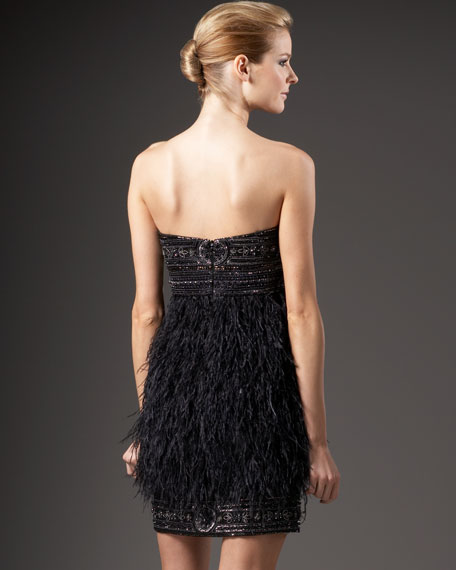 Strapless Feather-Skirt Dress