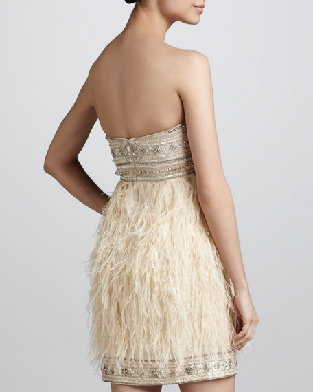 Beaded Feather Strapless Dress