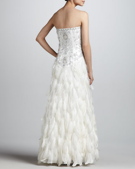 Strapless Long Feathered Gown