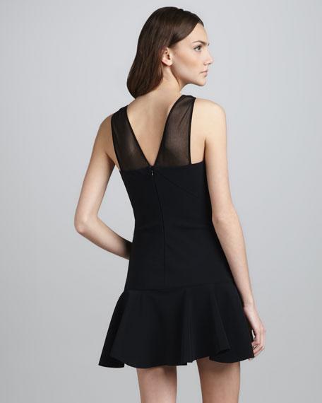 Mesh-Panel Flounce Dress