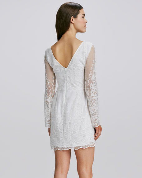 Embroidered Sheer-Sleeve Dress