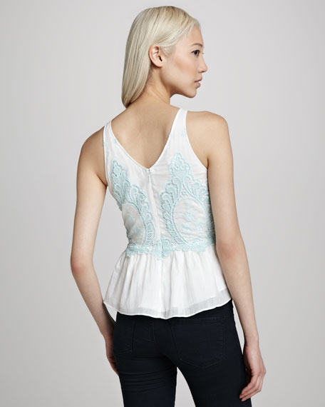 Embroidered Voile Peplum Top