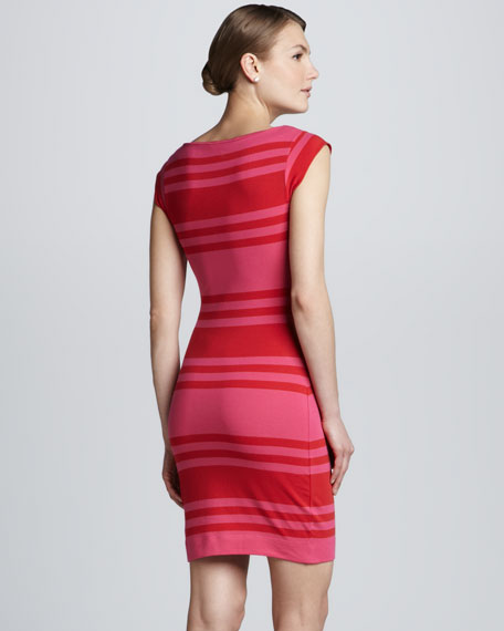 Vivacious Striped Fitted Dress
