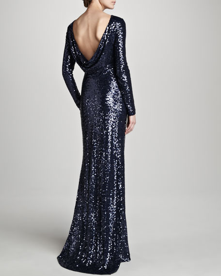 Sequined Gown with Cowl Back, Navy