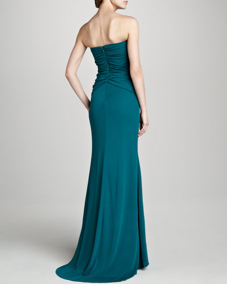 Beaded Jersey Strapless Gown, Teal