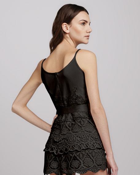 Spaghetti-Strap Short Lace Jumpsuit, Black